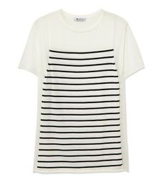 Graphic Arts: Shop the chicest pieces in bold black and white at #ShopBAZAAR - T By Alexander Wang Stripe and Sheer Short Sleeve Knit