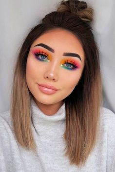 See our collection of top knot hairstyles to look stunning with little effort. B… See our collection of top knot hairstyles to look stunning with little effort. B…,Makeup See our collection of top knot. Rainbow Eye Makeup, Bright Eye Makeup, Makeup Eye Looks, Eye Makeup Art, Colorful Eye Makeup, Eyeshadow Makeup, Rainbow Eyes, Glitter Eyeshadow, Easy Eye Makeup