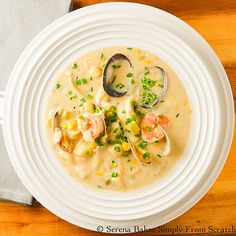 To die for hearty, creamy Seafood Chowder from Serena Bakes Simply From Scratch.