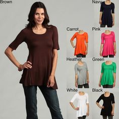 3ed9d07b1ec @Overstock - Casual and comfortable, this soft tunic from 24/7 Comfort  Apparel