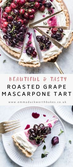 This easy mascarpone tart recipe is so simple to make. Combining creamy mascarpone filling with sweet roasted grapes with thyme, I share a secret ingredient to transform this recipe Plum Frangipane Tart, Shortcrust Pastry Tarts, Grape Pie, Raspberry Recipes, Easy Meals For Kids, Tart Recipes, Easy Desserts, Yummy Treats, Sweet Tooth