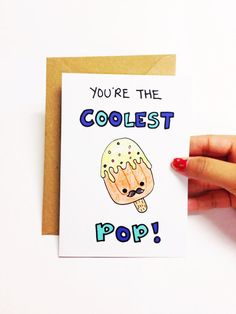 Father's day card funny, funny fathers day card, birthday card dad, dad birthday card for dad, funny dad card for father, popsicle card