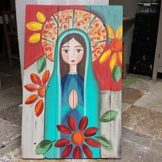 Catholic Art, Religious Art, Virgin Mary Art, Mexican Paintings, Mini Canvas Art, Mexican Art, Whimsical Art, Painting & Drawing, Watercolor Art