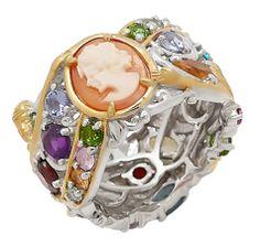 Palladium Silver & Yellow Gold Plate Walk of Fame Multi Gemstone Eternity Ring Eternity Ring, Plate, Gemstones, Yellow, Rings, Silver, Gold, En Vogue, Dishes