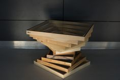 Kwadroforma wooden table with glass