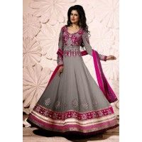 Ambica Ash designer Georgette Party salwar Kameez with Chiffon Dupatta and Santoon Bottom. This party Suit can be Customised Up to 44 size.