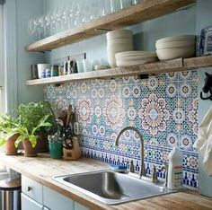 Image result for kitchen turkish tiles wood kitchen
