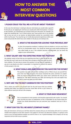 Common job interview questions and answers! Going for a job interview can be an extremely daunting prospect especially when you are not sure what sort of things Most Common Interview Questions, Job Interview Answers, Behavioral Interview Questions, Job Interview Preparation, Job Interview Tips, How To Interview, Business Interview Questions, Management Interview Questions, Interview Process