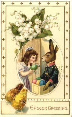 Antique art, Easter rabbit egg delivery