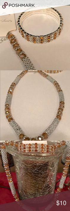 Beaded necklace/stretch bracelet set Sparkly fun and very pretty beaded necklace and bracelet set bracelet is stretch  very cool and pretty fashion jewelry Jewelry Necklaces