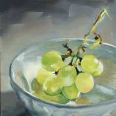 Oil Painting of Green Grapes by Illinois artist Debrha Anderson.  A bunch of green grapes in a white porcelain bowl, bathed in sunlight. The translucent fruit lights up with glowing color. This original oil painting is 8 inches square on a gessoed hardboard panel. Bought directly from the artist.