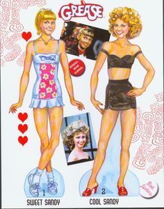 Sweet Sandy and Cool Sandy as portrayed in the classic movie by Olivia Newton John. By David Wolfe, Paperdollywood. Out of print.