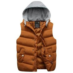Yellow / MWinter Hooded Vest Thick Warm Men Jacket Sleeveless Waistcoat Street Hoodie Style Male Plus Size Coat 661 Winter Vest, Winter Jackets, Sleeveless Jacket For Men, Men's Waistcoat, Revival Clothing, Hooded Vest, Hoodie Jacket, Cool Jackets, Men Style Tips