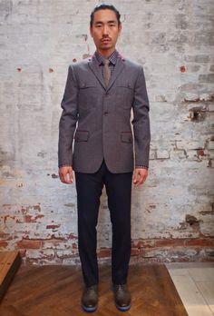 Johnny Love Joyce Dress Pant: $158 Johnny Love Puzo Check Shirt: $185 Johnny Love Dickens 3 Button Blazer: $570 Suit Clinic Tie: $65 Rudsak Brocade Oxford Shoe: $135