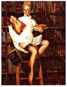 Retro PIN UP Librarian Girl Home Decor Canvas Print Choose Your Size | eBay