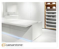 Caesarstone's quartz surfaces on the kitchen mobile countertop, cabinet cover, floors and more