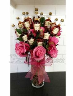 These cool Handmade Gifts for Men are sure to make him smile! They are easy too! Visit our 100 Days of Homemade Holiday Inspiration for more recipes, … Fun & Romantic DIY Valentine's Day Gifts For Him Alcohol Gift Baskets, Liquor Gift Baskets, Alcohol Gifts, Liquor Bouquet, Candy Bouquet, Shot Bouquet, Mini Alcohol Bouquet, Beer Bouquet, Diy Holiday Gifts