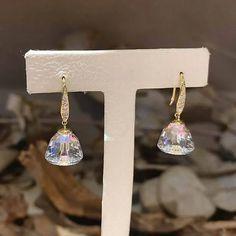 Charm Jewelry Delicate Korean Crystal Earrings For Women 2020 New Wedding Party Micro Pave Zircon Bijoux Jewelry | Touchy Style Unique Earrings, Boho Earrings, Crystal Earrings, Women's Earrings, Earrings Handmade, Charm Rings, Charm Jewelry, Pinterest Jewelry, Silver Charm Bracelet