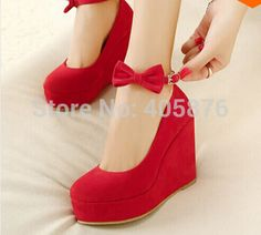 Cheap shoe chair, Buy Quality shoes with high heels directly from China heel less shoes Suppliers: wedding shoes sweet Fashion new Ankle Strap Platform Casual Elegant Bowtie Red High Heel Wedges Women Pumps zapatos mujer Red Wedges, Black Suede Wedges, High Wedges, Platform High Heels, Black High Heels, Tie Shoes, Wedge Shoes, Shoes Heels Wedges, Red Wedge Heels