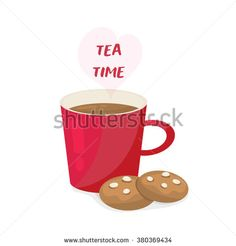 Tea time design over white background, red cup and cake - stock vector