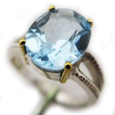NEW Womens BLUE TOPAZ OVAL Cut 925 STERLING SILVER 18K Yellow GOLD RING $295