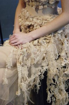 Disheveled Beauty - distressed romantic dress - lace, ruffles & texture; fashion details // Givenchy