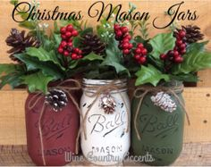 Christmas Rustic Planter Box with 3 Painted by KatesLittleShop