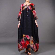 Floral Art Print Loose Long Silk Dress