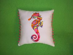 New Seahorse silhouette pillow made with Lilly Pulitzer Optical Confusion fabric on Etsy, $32.00