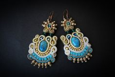 Soutache earrings with turquoise