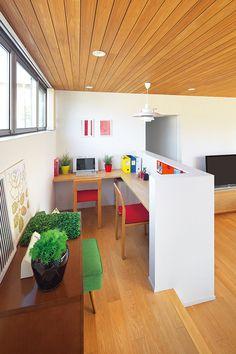 家族のスタディコーナーのあるリビング Japanese Home Decor, Japanese Interior, Small Space Living, Small Spaces, Study Table Organization, Interior Architecture, Interior Design, Study Corner, Dream House Plans