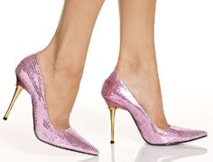 The Highest Heel Shoes Glitzee Pink Glitter Sparkling pink shoes with court design, pointed toe, front flat sole and contrastive 4 inch (10 cm) high stiletto heels with golden finishing. Elegant and chic, these shoes can perfectly accessorize e http://www.MightGet.com/january-2017-12/the-highest-heel-shoes-glitzee-pink-glitter.asp