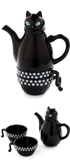Kitty Tea Set (too cute! Black cat, too)