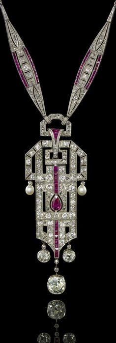 An Art Deco Platinum, Pearl, Ruby and Diamond Necklace/brooch, E. Netter &…