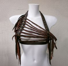 Dream Warriors brown leather halter top/ strap harness/ breastplate/tassel crop top. Woodland pagan tribal shaman druid voodoo larp cosplay by DreamWarriors on Etsy https://www.etsy.com/listing/488984328/dream-warriors-brown-leather-halter-top