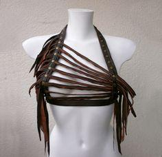 Dream Warriors brown leather halter top/ strap harness/ breastplate/tassel crop top. Woodland pagan tribal shaman druid voodoo larp cosplay by DreamWarriors on Etsy https://www.etsy.com/listing/488984328/dream-warriors-brown-leather-halter-top