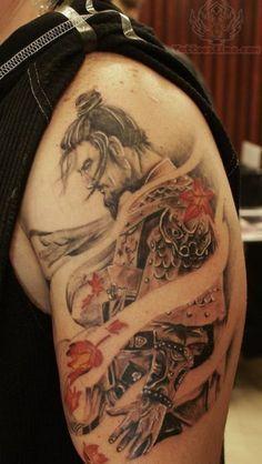Left Shoulder Samurai Warrior Tattoo