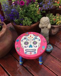 Day of The Dead Childrens Stool by BoHoExpressions on Etsy