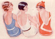 Fashion - Autumn Wardrobe and Beauty Makeover Vintage Ads, Vintage Images, Vintage Posters, Vintage Stuff, Vintage Bathing Suits, Vintage Swimsuits, Moda Art Deco, Art Nouveau, Muebles Art Deco