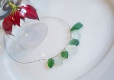 Mermaid Necklace, sea glass jewellery, green and white jewelry, gift for her, surfers time, by DreamsSanctuary on Etsy