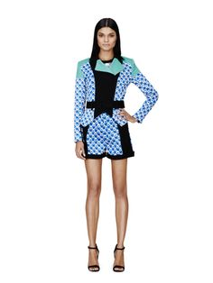 Moto Jacket in Blue Netting Print, $59.99  Cropped Sweater in White/Blue Print, $29.99  Short in Blue Netting Print, $29.99.