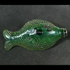 Moravian Green Fish Flask, ca. 1810