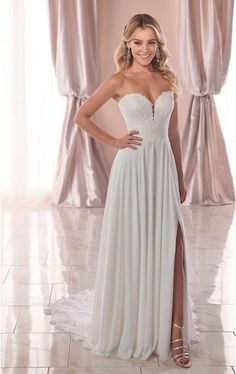 7e5ec82336e Brides who want something easy to wear will love this casual crepe chiffon wedding  dress by