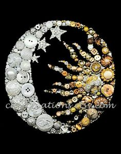 Unique ONE OF A KIND Button Art Collages by CherCreations - Moon & Sun button art. Sold on Etsy by CherCreations. Best Picture For creative crafts For Your T - Crafts To Make, Fun Crafts, Arts And Crafts, Jewelry Tree, Old Jewelry, Jewelry Findings, Jewelry Hanger, Vintage Jewelry Crafts, Button Crafts