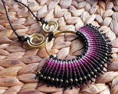 Taxeem Macrame necklace Micro macrame tribal by TheDancingCord