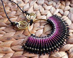 Items similar to macrame necklace, bohemian jewelry, boho necklace, tribal jewelry, hippie style, gypsy necklace on Etsy
