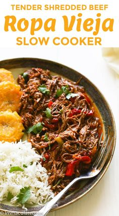ropa vieja slow cooker - The Best Cuban Recipes Crock Pot Recipes, Meat Recipes, Slow Cooker Recipes, Mexican Food Recipes, Cooking Recipes, Healthy Recipes, Ethnic Recipes, Spanish Food Recipes, Spanish Meals