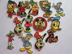 1970's Disney Magnets Mickey Minnie Donald Duck Goofy