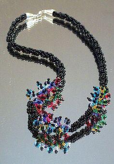Black & Multicolor Spiral Rope Necklace