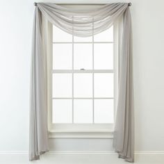 Liz Claiborne® Lisette Sheer Scarf Valance Hang this higher so that the curve of the valance just covers the top of the window. You can pair this with drapes if you want, or leave it like this. Scarf Curtains, Window Scarf, Voile Curtains, Curtain Scarf Ideas, Curtain Styles, Curtain Designs, Sheer Valances, Sheer Curtain Panels, Living Room Drapes
